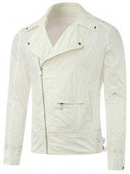 Lapel Diagonal Zipper Asymmetric Pocket Jacket - WHITE