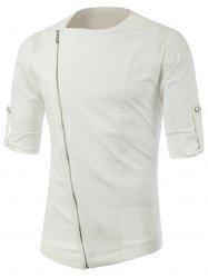 Half Sleeve Side Zip Up Tee - WHITE
