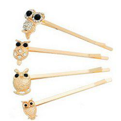 4 Pcs Alloy Owl Hair Accessory -