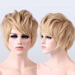 Short Synthetic Fluffy Natural Wavy Side Bang Wig