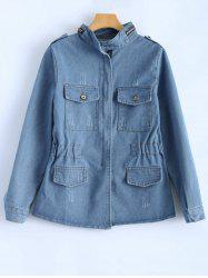 Elastic Waist Bleach Wash Jean Jacket -