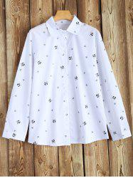 Plus Size Long Sleeve Printed Shirt - WHITE 4XL