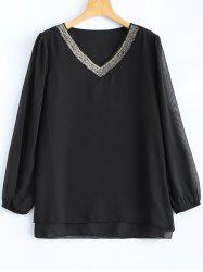 Plus Size Beaded Chiffon Blouse