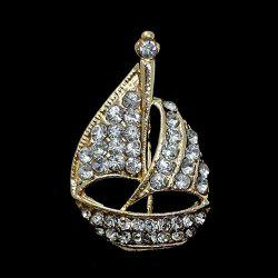 Rhinestone Sailing Boat Brooch - GOLDEN