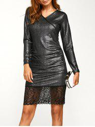 Lace Trim Insert Metallic Dress