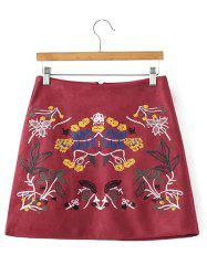 Faux Suede Skirt with Embroidery - WINE RED M