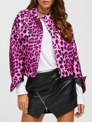 Leopard Print Drop Shoulder Jacket with Pocket