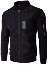 Pocket Design Stand Collar Zippered Jacket - BLACK