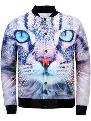 3D Cat Print Stand Collar Jacket - COLORMIX