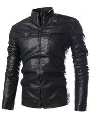 PU-Leather Stand Collar Zip-Up Jacket - BLACK 3XL