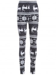 Snowflake Deer Print ChristmasLeggings -