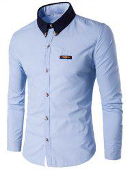 Contrast Collar Metal Embellished Button Up Shirt - BLUE 5XL