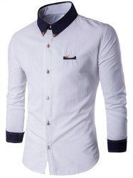 Contrast Collar Metal Embellished Button Up Shirt