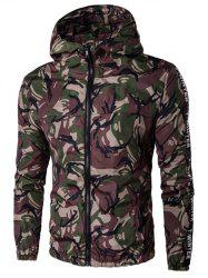 Hooded Selvedge Embellished Camouflage Plus Size Jacket