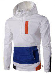 Hooded Plus Size Half-Zip Color Block Spliced Jacket - WHITE 4XL