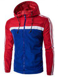 Hooded Color Block Splicing Stripe Zip-Up Plus Size Jacket