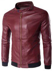 Stand Collar Rib Splicing Zip-Up Plus Size PU-Leather Jacket - WINE RED