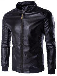 Stand Collar Rib Splicing Zip-Up Plus Size PU-Leather Jacket - BLACK