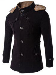 Plus Size Hooded Fleece Single-Breasted Woolen Coat - BLACK