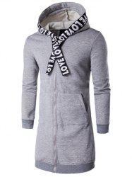 Plus Size Zip Up Selvedge Embellished Hooded Coat -