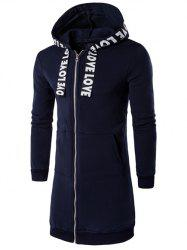 Plus Size Zip Up Selvedge Embellished Hooded Coat - CADETBLUE