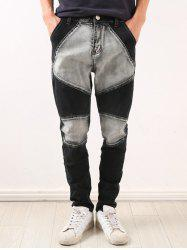 Zipper Fly Low-Slung Crotch Bleach Wash Splicing Jeans -