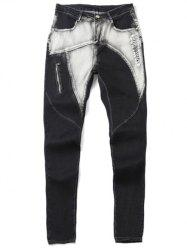 Zipper Fly Low-Slung Crotch Bleach Wash Spliced Jeans