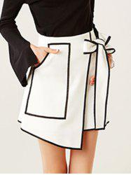 Contrast-Trim Tied-Up Surplice Mini Skirt - WHITE