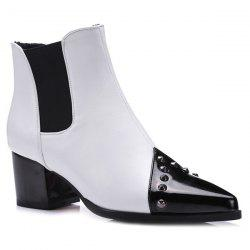 Pointed Toe Rivet Chunky Heel Ankle Boots