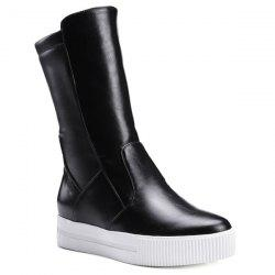 Slip-On PU Leather Platform Mid-Calf Boots - BLACK 38