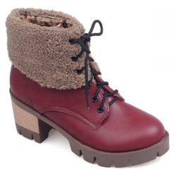 Lace-Up Fuzzy Chunky Heel Short Boots - RED 38