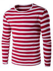 Long Sleeve Round Neck Striped T-Shirt - RED