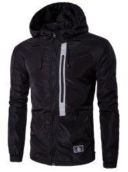 Hooded Drawstring Conception Veste Zip-Up -