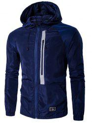 Hooded Drawstring design Veste Zip-Up -