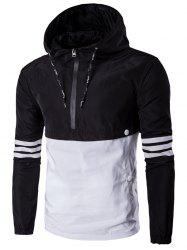 Hooded Drawstring Design Half-Zip Varsity Stripe Jacket
