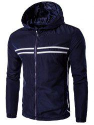 Hooded Striped Design Zip-Up Plus Size Jacket -