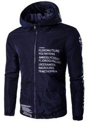 Hooded Zip-Up Plus Size Graphic Print Jacket - CADETBLUE L