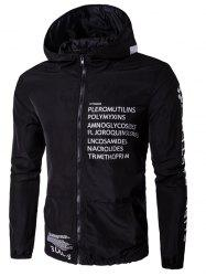 Hooded Zip-Up Plus Size Graphic Print Jacket