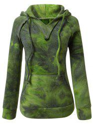 Ombre Topstitched Pocket Design Hoodie - GREEN L