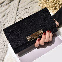 Fuzzy Metal Clutch Wallet - BLACK