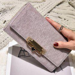Fuzzy Metal Clutch Wallet