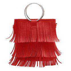 Metal Ring PU Leather Multi Fringe Handbag