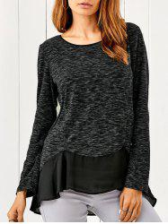 Chiffon Patchwork Heather Asymmetrical T-Shirt