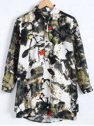Loose Chinese Printed Long Sleev High-Low Hem Shirt -