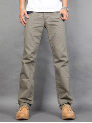 Zipper Fly Vertical Striped Straight Leg Chino Pants