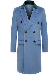 Panel Turndown Collar Longline Woolen Coat
