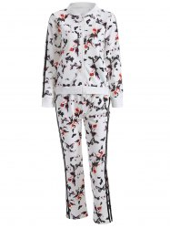 Butterfly Print Zip Up Sweatshirt and Sweatpants -