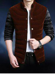 Stand Collar Zip-Up Splicing Color Block Thicken Jacket