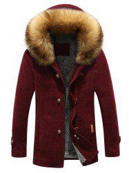 Patch Design Zip-Up Fur Hooded Jacket - WINE RED 3XL