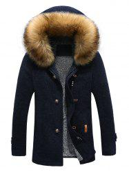 Patch Design Zip-Up Fur Hooded Jacket - CADETBLUE XL